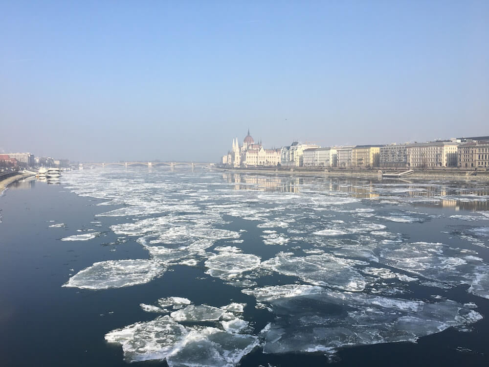 Budapest in January Ice on the Danube