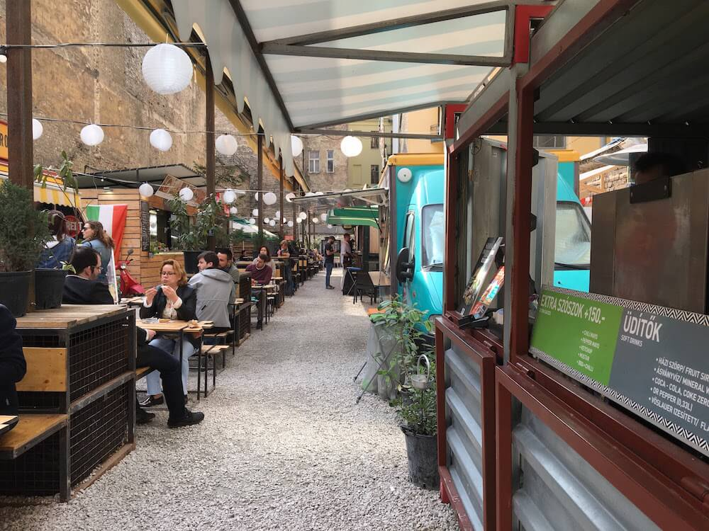 Kazinsky is a popular bar street Budapestand is home to Street Food Karavan Food Truck Pod