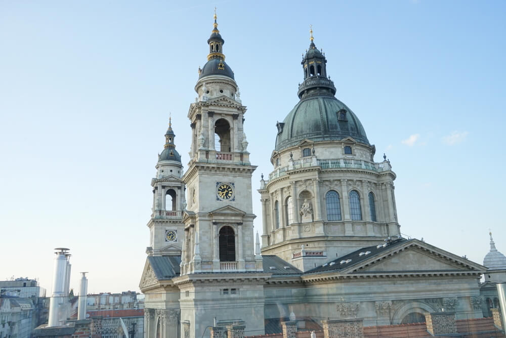 View of St Stephen's Basilica from the Rooftop of the Aria Hotel Bar. Featured in a Budapest where to stay and nightlife guide.