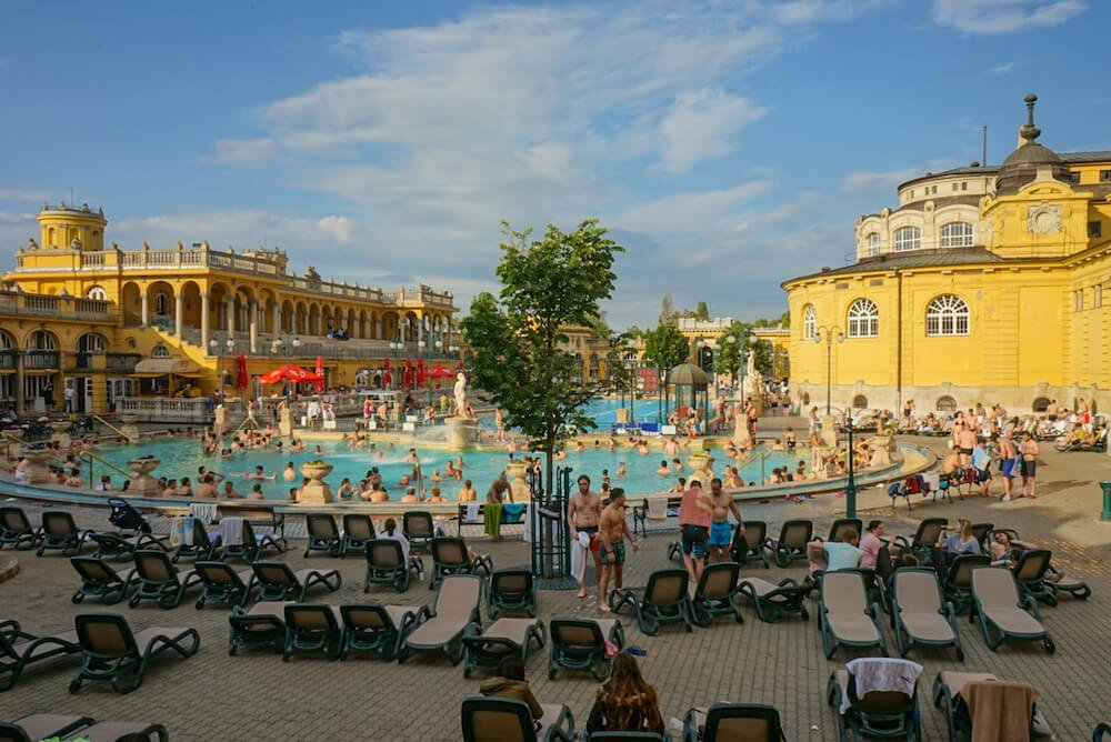Exterior of the Szechenyi thermal baths Budapest featured in a Budapest party guide
