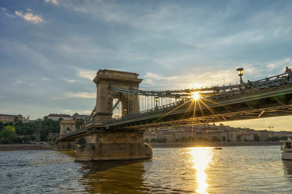 Chain Bridge Budapest at Sunset