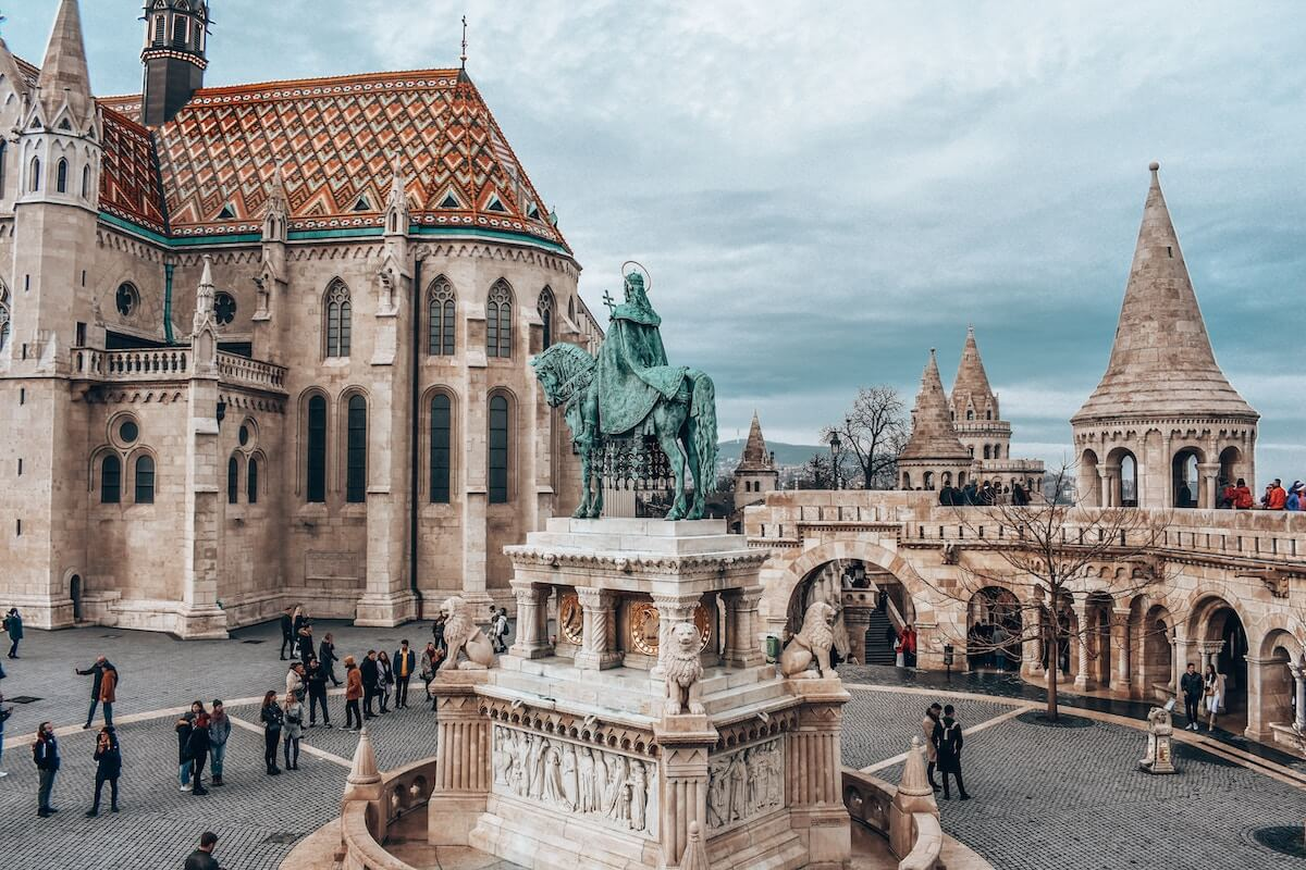 Fishermans Bastion, statue of St. Stephen, and Matthias Church in Budapest's Castle District