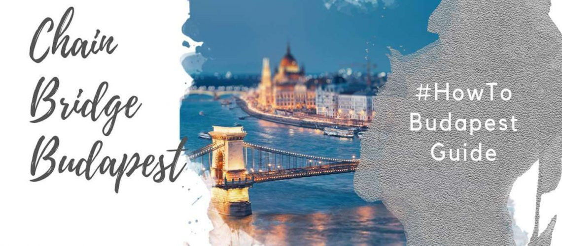 Feature image for an article about the Budapest Chain Bridge. A watercolor foreground has the text